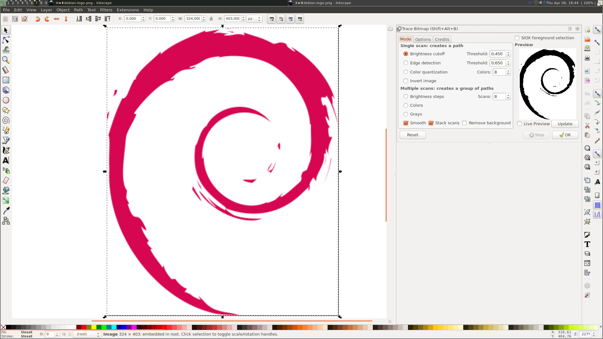 Vectorize an image using Inkscape | Castells