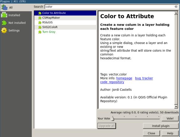 Color2attribute in QGIS Plugin servers | Castells